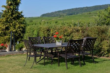 Gîtes Lichtenberger Espace Jardin Table Vue sur Vignoble